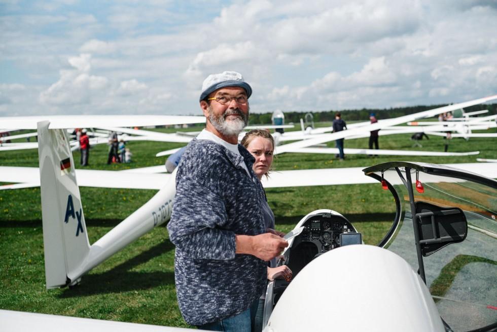 Duo Team 1: Jochen und Marla im Grid kurz vor Start zum Schnellflug mit einem Schnitt von 103 km/h.